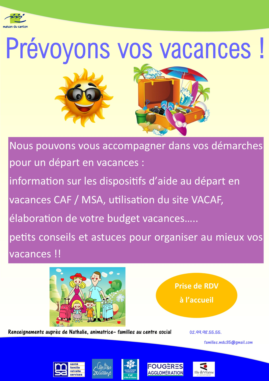 Prevoyons Vos Vacances Centre Social Maison Du Canton